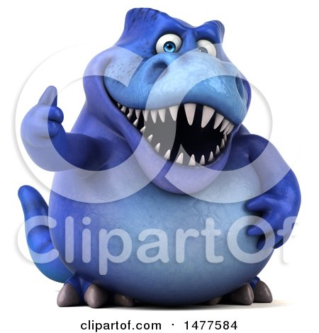 Clipart of a 3d Blue Tommy Tyrannosaurus Rex Dinosaur Mascot , on a White Background - Royalty Free Illustration by Julos