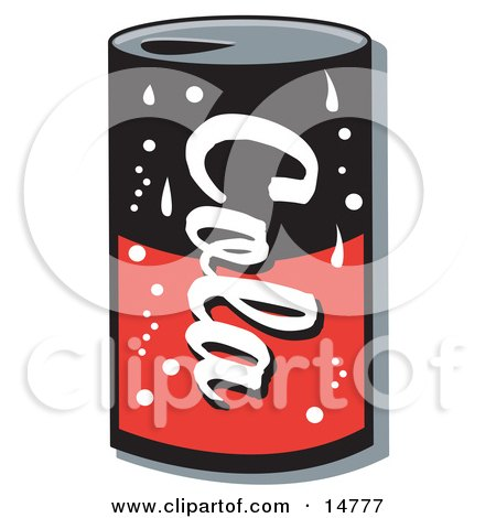 Black and Red Can of Cola Soda Clipart Illustration by Andy Nortnik