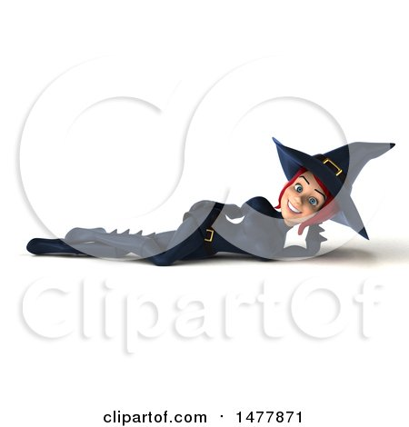 Clipart of a 3d Sexy Witch in Dark Blue, on a White Background - Royalty Free Illustration by Julos