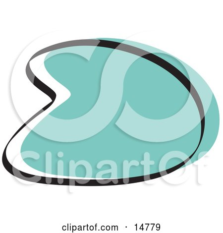 Retro Boomerang Turquoise Circle Graphic Shape Clipart Illustration by Andy Nortnik
