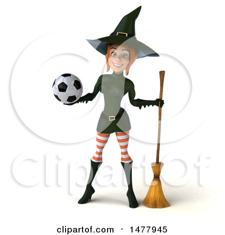 Clipart of a 3d Sexy Witch in Green, on a White Background - Royalty Free Illustration by Julos
