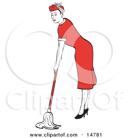 Red Haired Housewife Or Maid Woman In A Long Red Dress And High Heels Using A Mop To Clean The Floors Clipart Illustration by Andy Nortnik