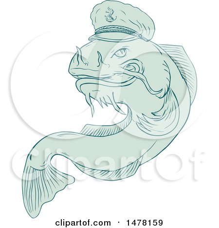 Clipart of a Jumping Catfish in a Sea Captain Hat in Sketch Style - Royalty Free Vector Illustration by patrimonio