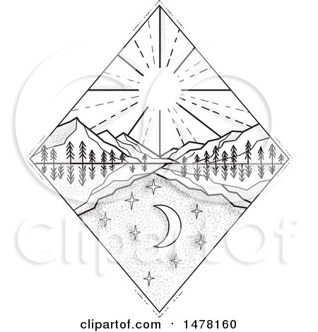 Clipart of a Diamond with Day and Night Scenes with Sun and Mountains in Sketch Style - Royalty Free Vector Illustration by patrimonio
