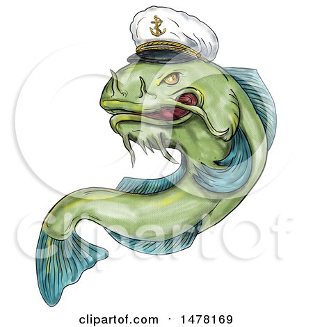 Clipart of a Captain Catfish in Tattoo Style, on a White Background - Royalty Free Illustration by patrimonio