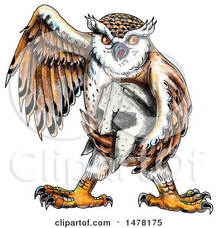 Clipart of a Tattoo Styled Owl Holding a Spartan Helmet, on a White Background - Royalty Free Illustration by patrimonio