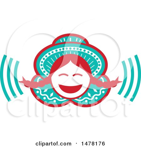 Clipart of a Laughing Peruvian Girl - Royalty Free Vector Illustration by patrimonio