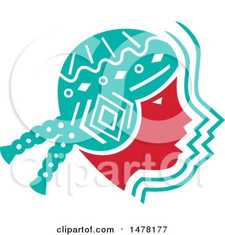 Clipart of a Profiled Face of a Peruvian Girl - Royalty Free Vector Illustration by patrimonio