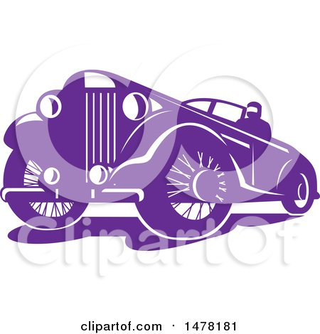 Clipart of a Purple Vintage Car - Royalty Free Vector Illustration by patrimonio