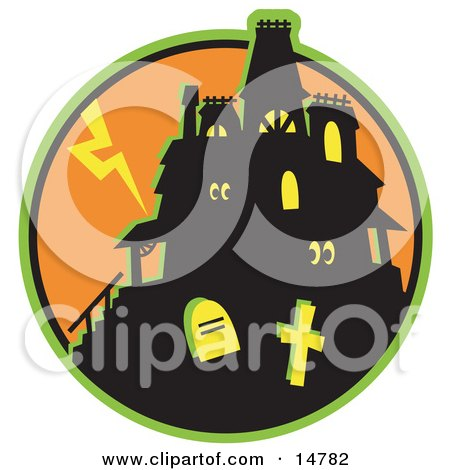 Glowing Eyes Peeking Out From Windows In A Silhouetted Haunted House Against An Orange Sky With Lightning And Graves In The Foreground Clipart Illustration by Andy Nortnik