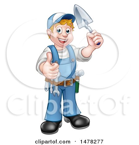 White Male Mason Worker Holding a Trowel and Giving a Thumb up Posters, Art Prints