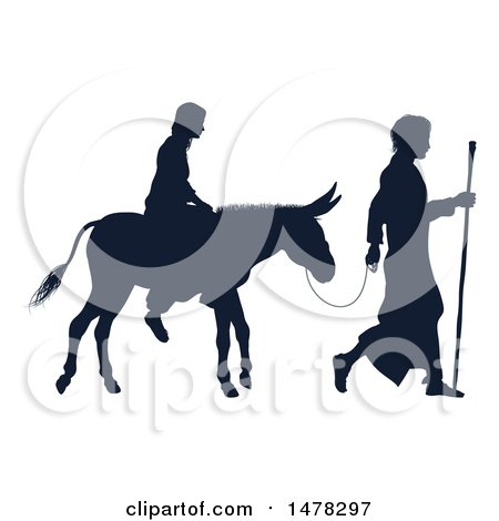 Clipart of a Silhouetted Virgin Mary on a Donkey and Joseph - Royalty Free Vector Illustration by AtStockIllustration