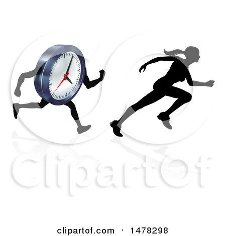 Clipart of a Silhouetted Racing a Clock Character - Royalty Free Vector Illustration by AtStockIllustration