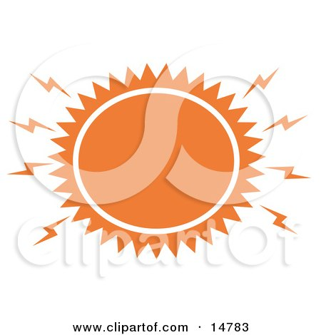 Blazing Hot Orange Sun Clipart Illustration by Andy Nortnik