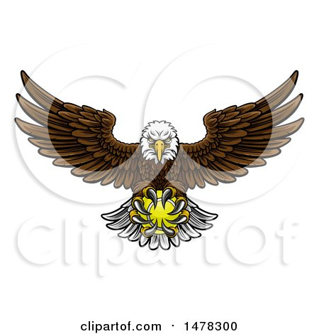Clipart of a Cartoon Swooping American Bald Eagle with a Tennis Ball in His Talons - Royalty Free Vector Illustration by AtStockIllustration