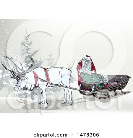 Clipart of a White Elk Pulling Santas Sleigh - Royalty Free Vector Illustration by dero