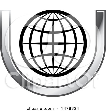 Clipart Of A Wire Globe In A Letter U