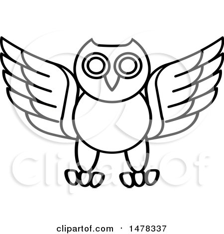 Clipart of a Black and White Owl - Royalty Free Vector Illustration by Lal Perera
