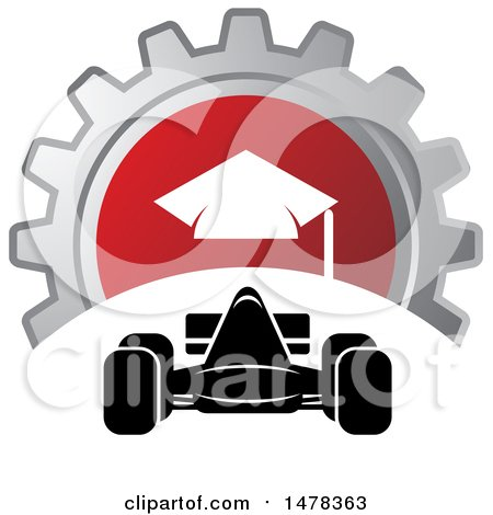 Clipart of a Race Car and Gear Icon - Royalty Free Vector Illustration by Lal Perera