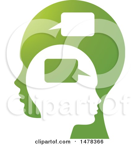 Clipart of Profiled Heads with Speech Balloons - Royalty Free Vector Illustration by Lal Perera