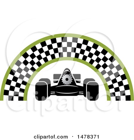 Clipart of a Race Car Under a Checkered Arch - Royalty Free Vector Illustration by Lal Perera