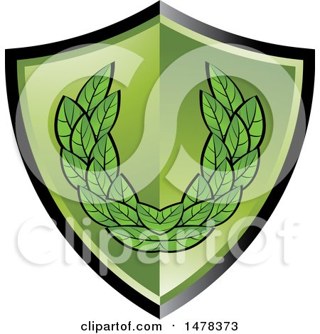 Clipart of a Green Shield with Leaves - Royalty Free Vector Illustration by Lal Perera