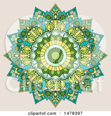 Clipart of a Mandala Design on Beige - Royalty Free Vector Illustration by KJ Pargeter