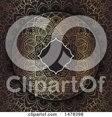 Clipart of a Blank Frame over a Golden Mandala Design on Black - Royalty Free Vector Illustration by KJ Pargeter