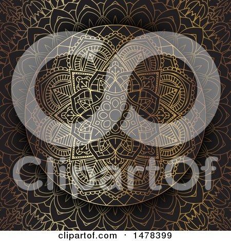 Clipart of a Golden Mandala Design on Black - Royalty Free Vector Illustration by KJ Pargeter