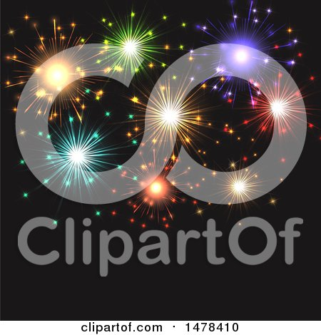 Clipart of a Colorful Fireworks and Black Background - Royalty Free Vector Illustration by KJ Pargeter
