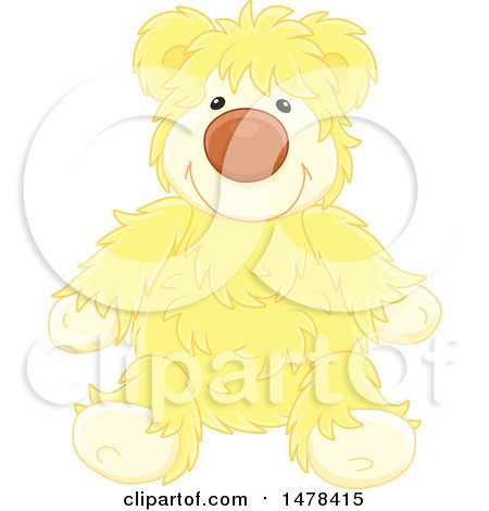 Clipart of a Yellow Hairy Teddy Bear - Royalty Free Vector Illustration by Alex Bannykh