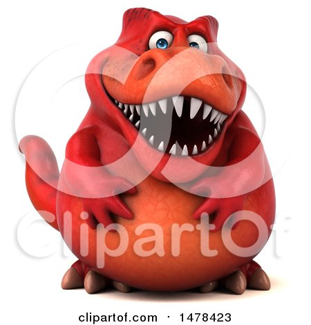 Clipart of a 3d Red Tommy Tyrannosaurus Rex Dinosaur Mascot, on a White Background - Royalty Free Illustration by Julos