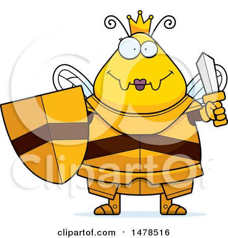 Clipart of a Chubby Queen Bee in Armor Holding a Sword and Shield - Royalty Free Vector Illustration by Cory Thoman