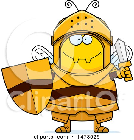 Clipart of a Chubby Bee Knight Holding a Sword and Shield - Royalty Free Vector Illustration by Cory Thoman