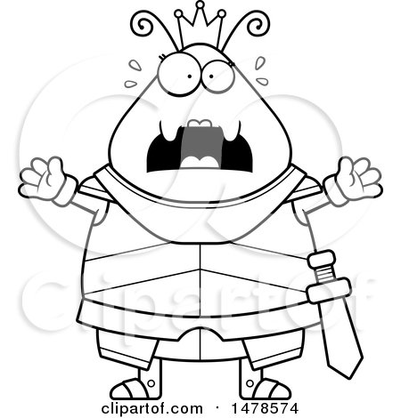 Clipart Of A Chubby Lineart Queen Ant In Armor By Wood Signs