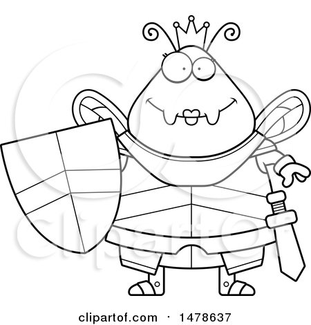 Clipart Of A Chubby Lineart Queen Bee In Armor