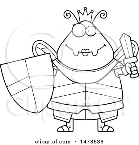 Clipart Of A Chubby Lineart Queen Bee In Armor Holding A Sword And
