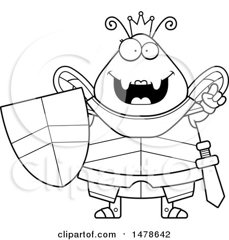 Clipart Of A Chubby Queen Bee In Armor
