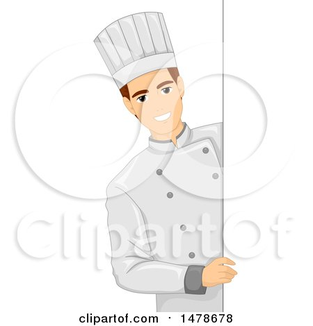 Clipart of a Male Chef by a Sign - Royalty Free Vector Illustration by BNP Design Studio