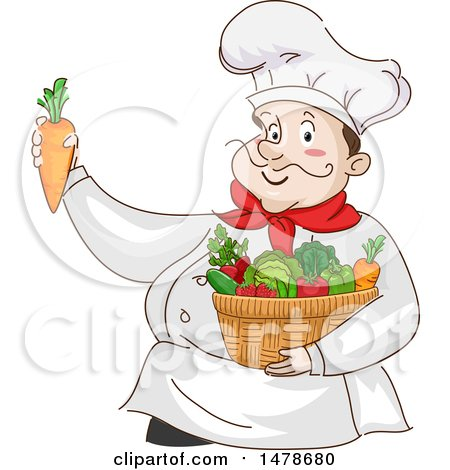 Clipart of a Chubby Male Chef with a Basket of Produce - Royalty Free Vector Illustration by BNP Design Studio