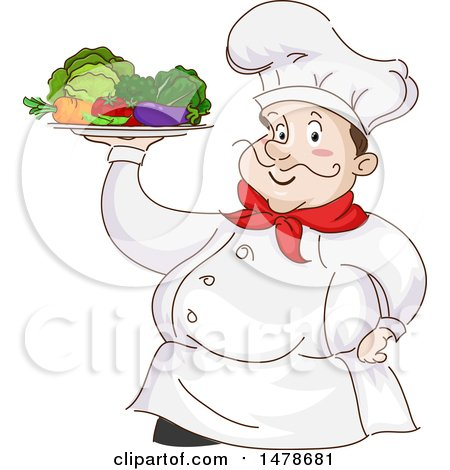 Clipart of a Chubby Male Chef Holding a Platter of Vegetables - Royalty Free Vector Illustration by BNP Design Studio