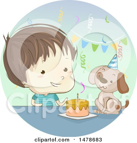 Clipart of a Sketched Boy Celebrating a Birthday with His Dog - Royalty Free Vector Illustration by BNP Design Studio