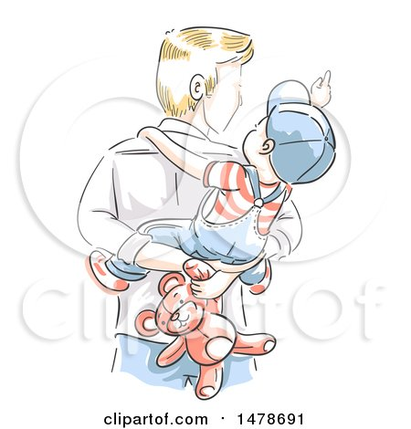 Clipart of a Sketched Dad Carrying His Son and Teddy Bear on His Back - Royalty Free Vector Illustration by BNP Design Studio