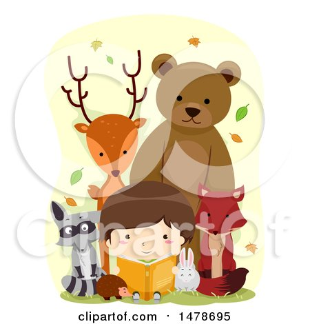 Clipart of a Boy Reading a Book, Surrounded by Woodland Animals - Royalty Free Vector Illustration by BNP Design Studio