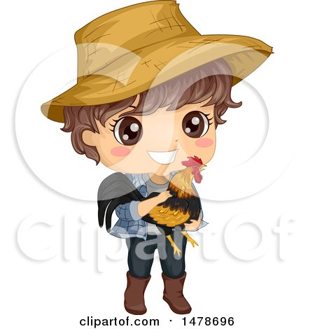 Clipart of a Farmer Boy Holding a Rooster - Royalty Free Vector Illustration by BNP Design Studio