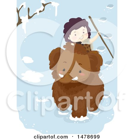 Clipart of a Boy Riding a Woolly Mammoth - Royalty Free Vector Illustration by BNP Design Studio