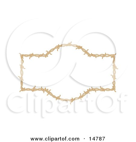Border Frame Of Barbed Wire Over A White Background Clipart Illustration by Andy Nortnik
