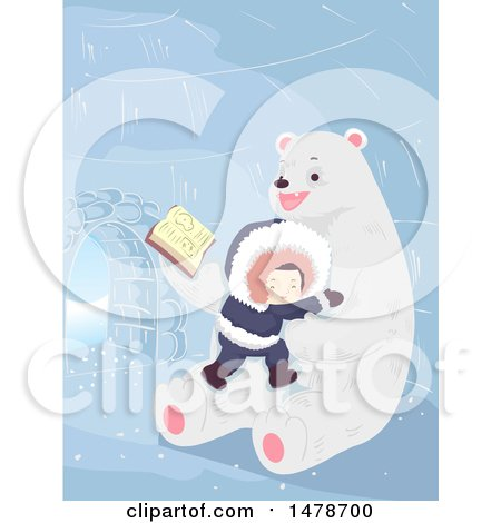Clipart of a Boy Cuddling with a Polar Bear That Is Reading a Story - Royalty Free Vector Illustration by BNP Design Studio