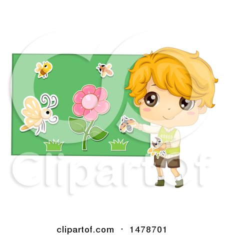 Clipart of a Boy Using a Flannel Board to Tell a Story About Insects and Flowers - Royalty Free Vector Illustration by BNP Design Studio