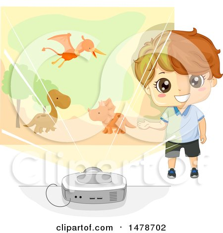 Clipart of a Boy Using a Projector to Tell a Story About Dinosaurs - Royalty Free Vector Illustration by BNP Design Studio